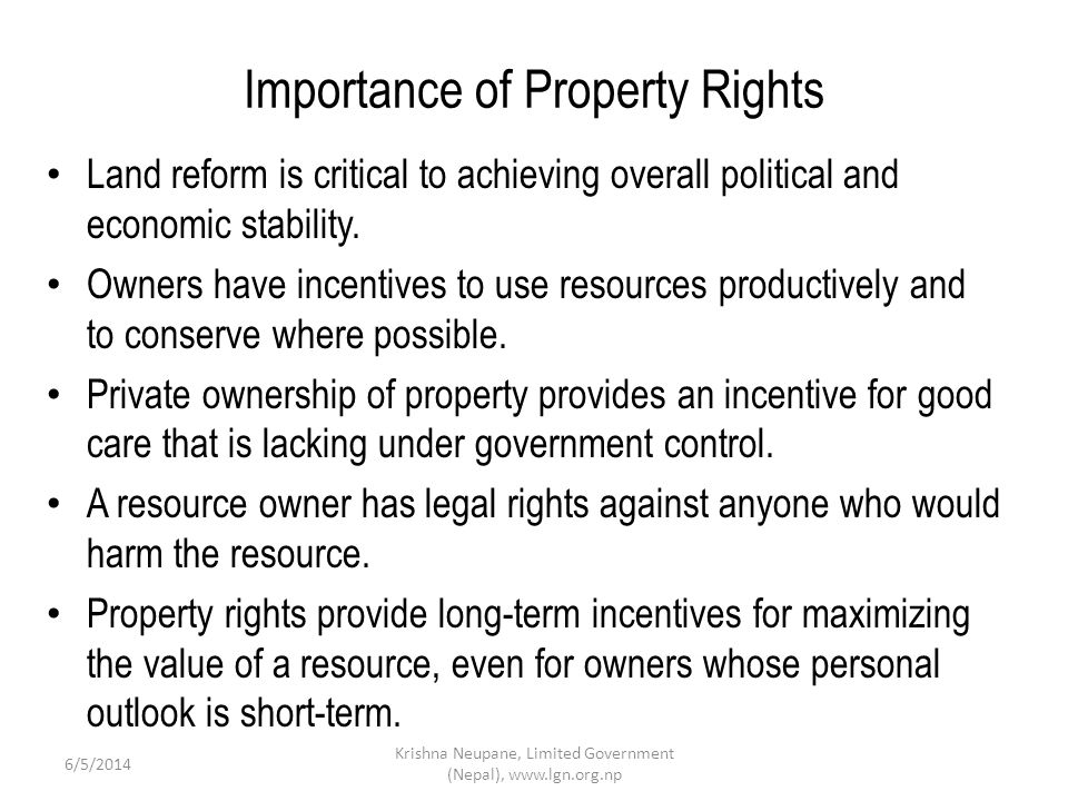 Importance of Property Rights Land reform is critical to achieving overall political and economic stability.