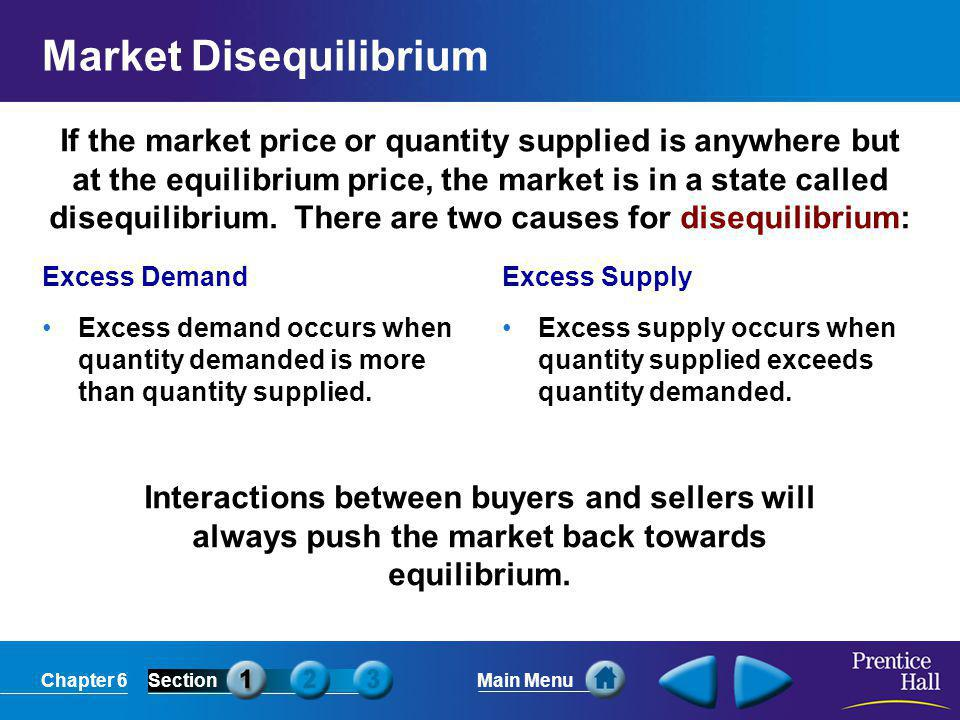 Chapter 6SectionMain Menu If the market price or quantity supplied is anywhere but at the equilibrium price, the market is in a state called disequilibrium.