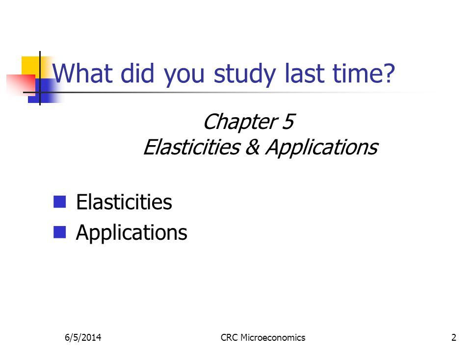 6/5/2014CRC Microeconomics2 What did you study last time? Chapter 5 Elasticities & Applications Elasticities Applications