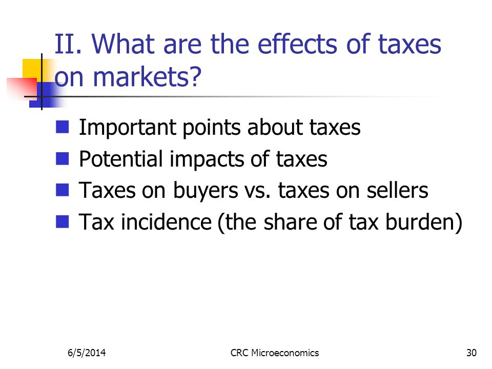 6/5/2014CRC Microeconomics30 II. What are the effects of taxes on markets? Important points about taxes Potential impacts of taxes Taxes on buyers vs.