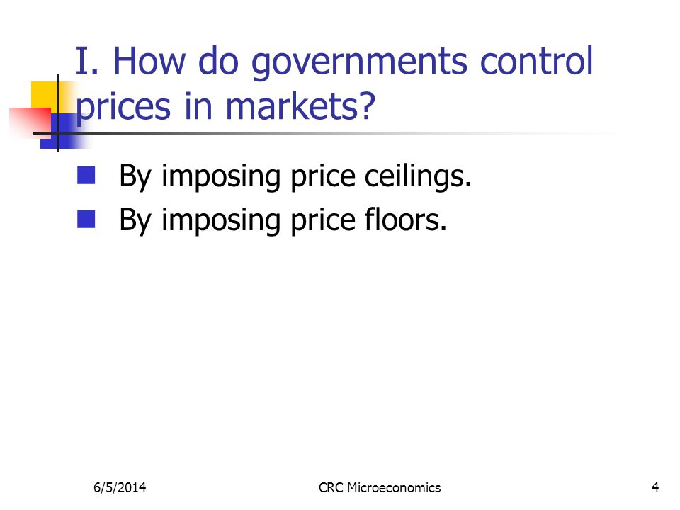 6/5/2014CRC Microeconomics15 Rent controls in the short run and in the long run In the short run, the demand for and supply of rental units are inelastic.