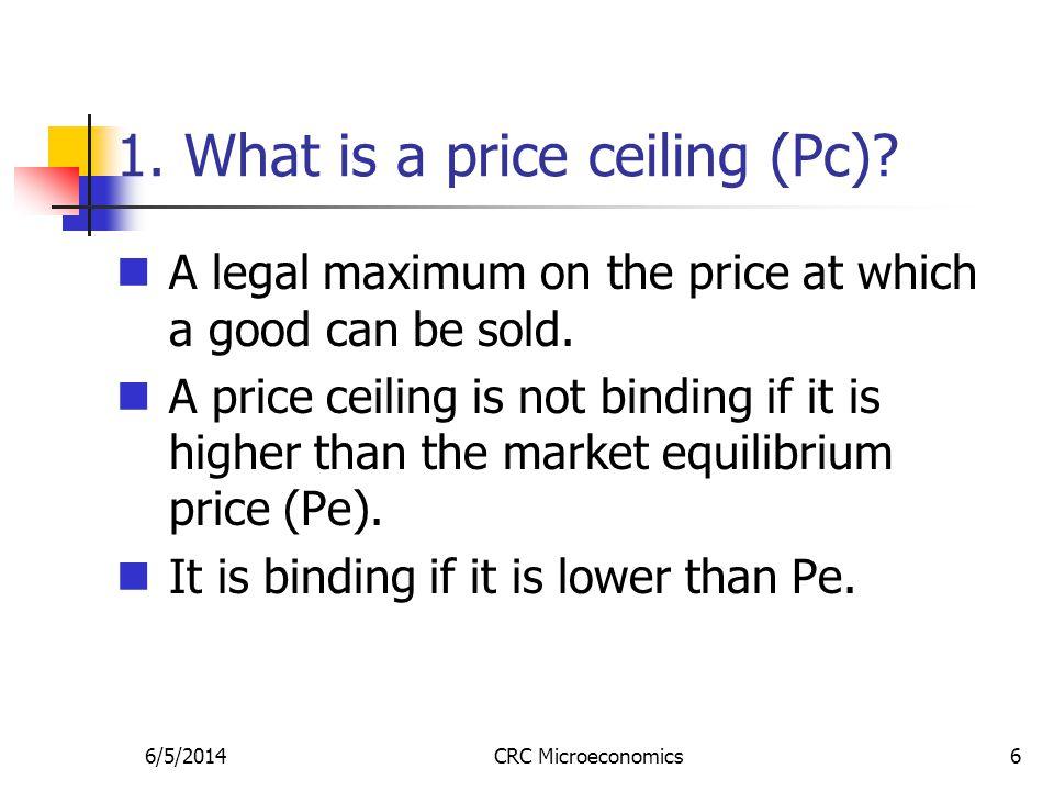 6/5/2014CRC Microeconomics7 Price ceiling (Pc) P Q S D E Pe=$6 Qe = 60 The demand-supply diagram below shows a market.