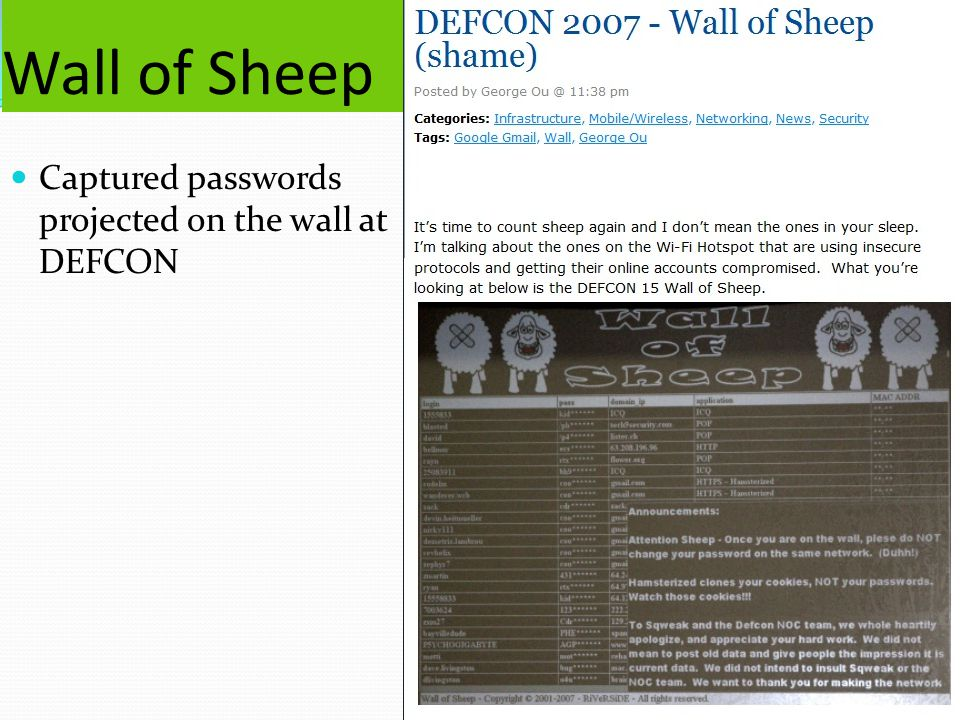 Wall of Sheep Captured passwords projected on the wall at DEFCON