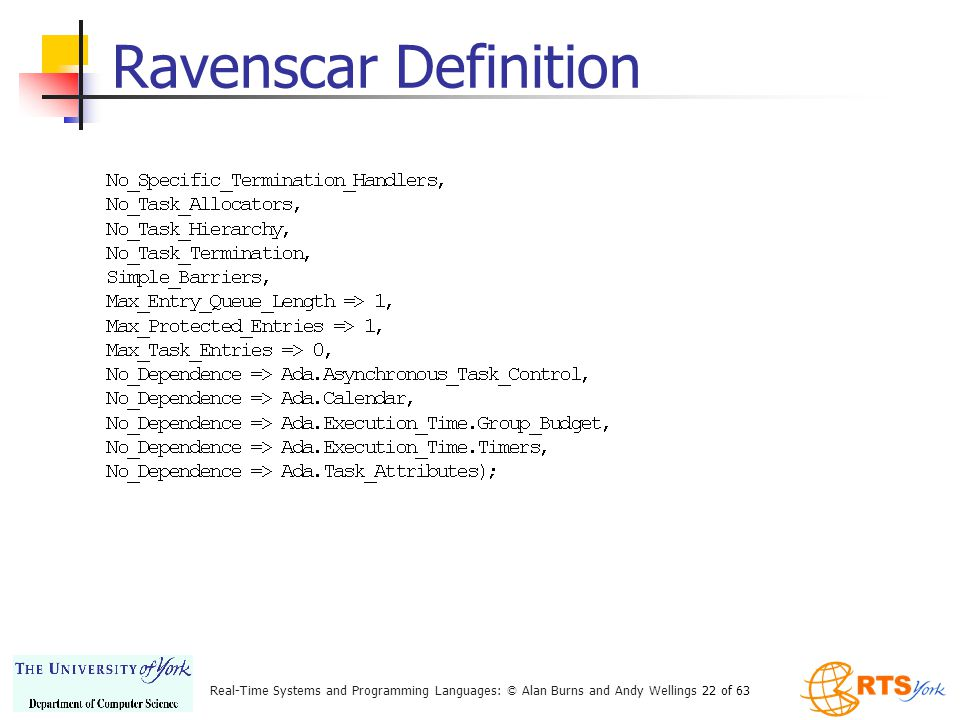 Real-Time Systems and Programming Languages: © Alan Burns and Andy Wellings 22 of 63 Ravenscar Definition