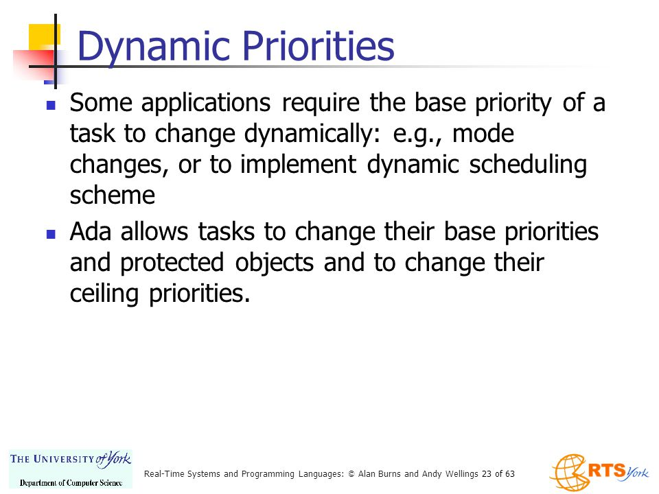 Real-Time Systems and Programming Languages: © Alan Burns and Andy Wellings 23 of 63 Dynamic Priorities Some applications require the base priority of a task to change dynamically: e.g., mode changes, or to implement dynamic scheduling scheme Ada allows tasks to change their base priorities and protected objects and to change their ceiling priorities.
