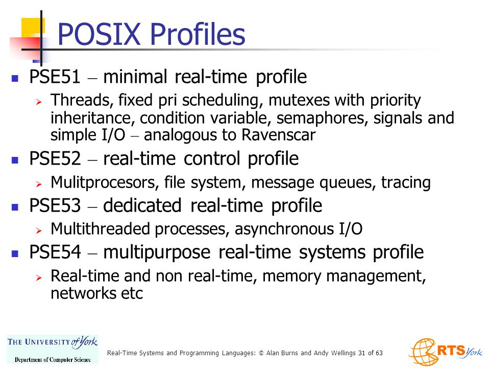 Real-Time Systems and Programming Languages: © Alan Burns and Andy Wellings 31 of 63 POSIX Profiles PSE51 – minimal real-time profile Threads, fixed pri scheduling, mutexes with priority inheritance, condition variable, semaphores, signals and simple I/O – analogous to Ravenscar PSE52 – real-time control profile Mulitprocesors, file system, message queues, tracing PSE53 – dedicated real-time profile Multithreaded processes, asynchronous I/O PSE54 – multipurpose real-time systems profile Real-time and non real-time, memory management, networks etc