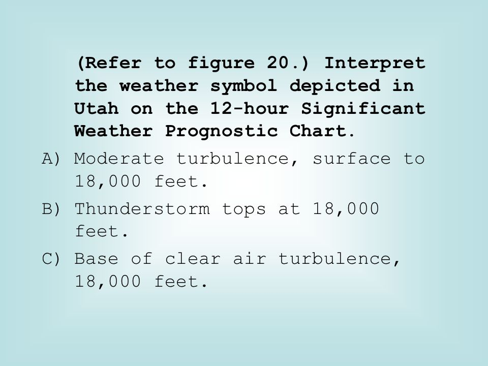 (Refer to figure 20.) Interpret the weather symbol depicted in Utah on the 12-hour Significant Weather Prognostic Chart. A)Moderate turbulence, surfac