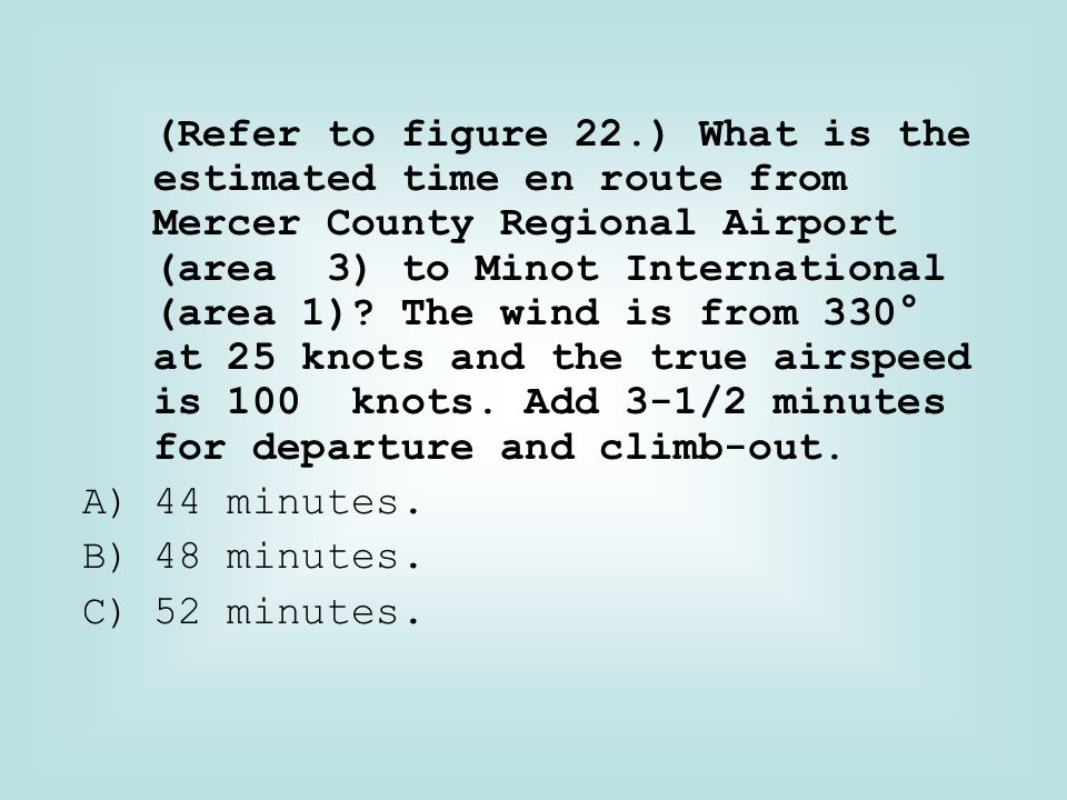 (Refer to figure 22.) What is the estimated time en route from Mercer County Regional Airport (area 3) to Minot International (area 1)? The wind is fr