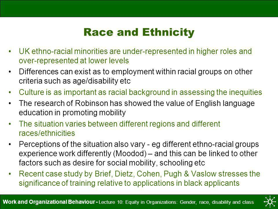 Work and Organizational Behaviour - Lecture 10: Equity in Organizations: Gender, race, disability and class Race and Ethnicity UK ethno-racial minorit