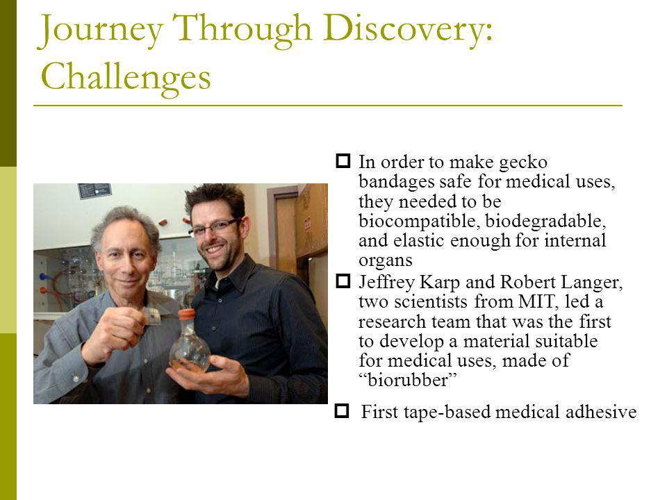 Journey Through Discovery: Challenges In order to make gecko bandages safe for medical uses, they needed to be biocompatible, biodegradable, and elast