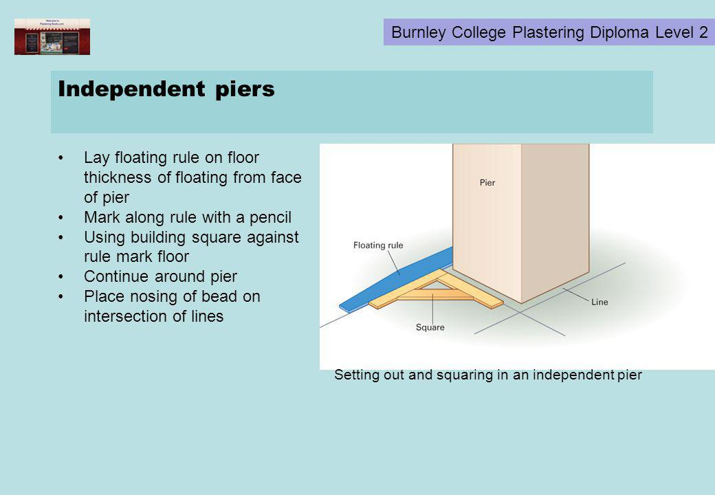 Burnley College Plastering Diploma Level 2 Independent piers Lay floating rule on floor thickness of floating from face of pier Mark along rule with a