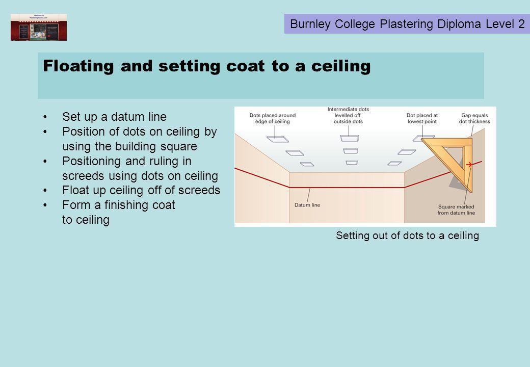 Burnley College Plastering Diploma Level 2 Floating and setting coat to a ceiling Set up a datum line Position of dots on ceiling by using the buildin
