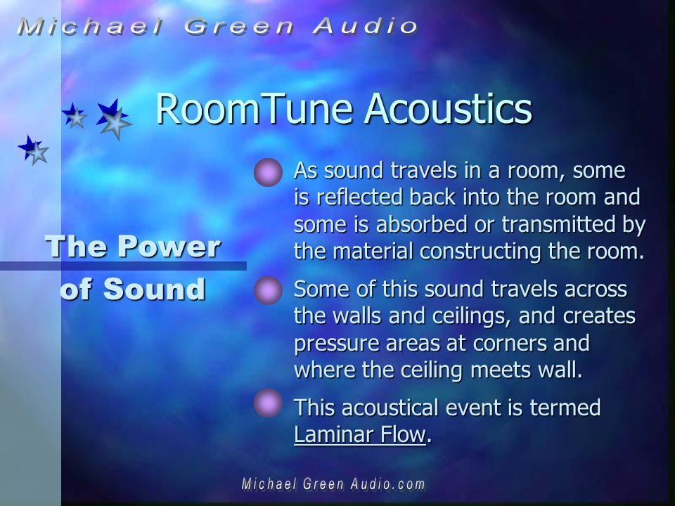 RoomTune Acoustics As sound travels in a room, some is reflected back into the room and some is absorbed or transmitted by the material constructing the room.