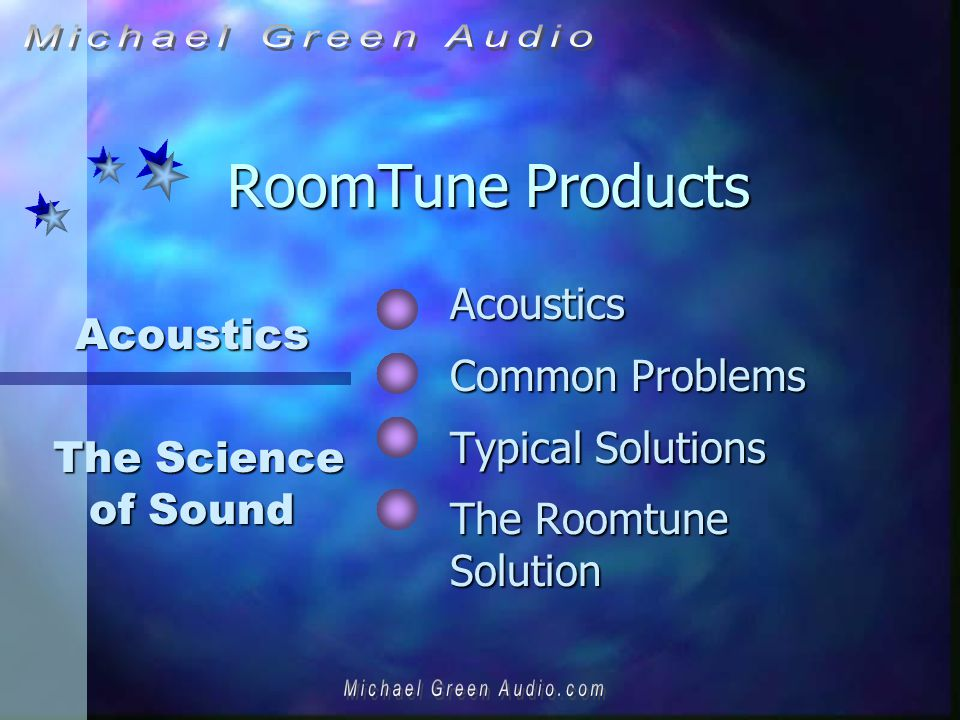 RoomTune Products Acoustics Common Problems Typical Solutions The Roomtune Solution Acoustics The Science of Sound The Science of Sound