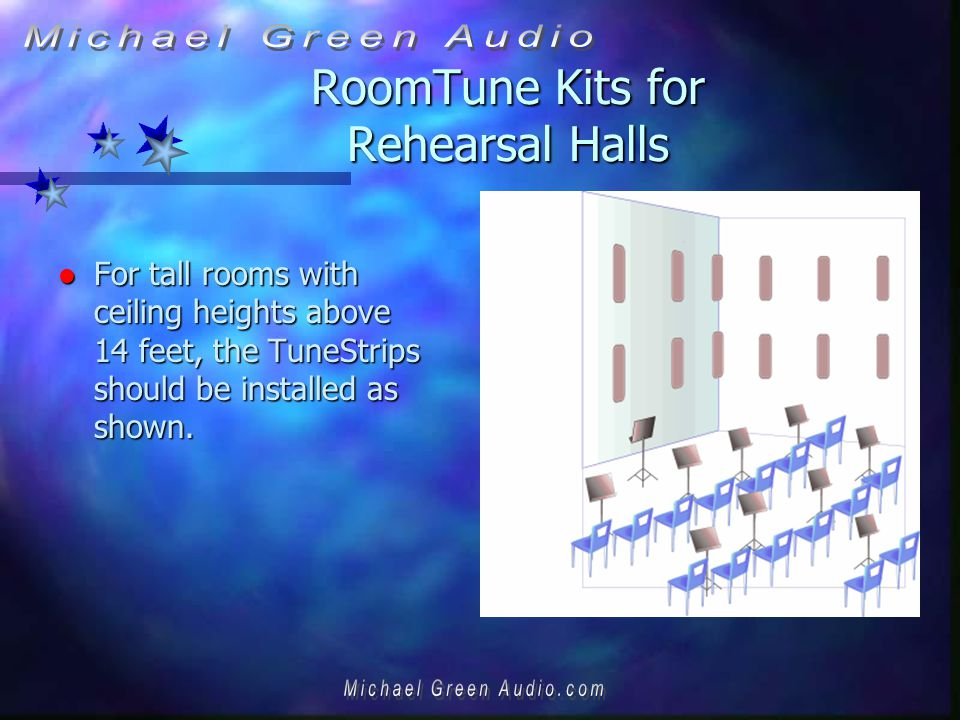 RoomTune Kits for Rehearsal Halls l For tall rooms with ceiling heights above 14 feet, the TuneStrips should be installed as shown.