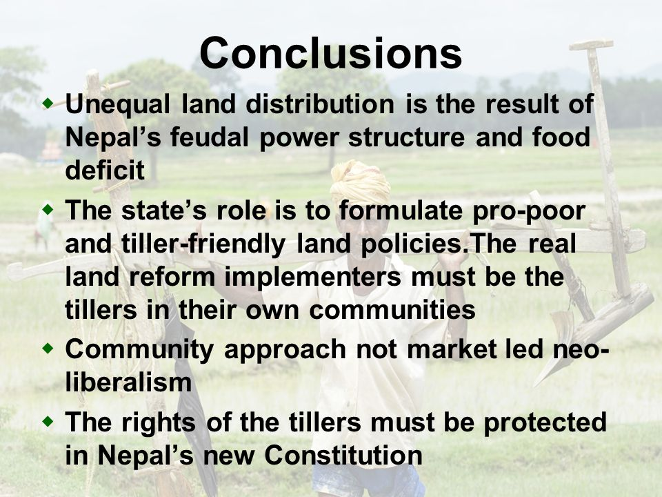 Recent concern on land April 16, 2009Jagannath Adhikari12 One of the main aspects in peace process, and also essential for sustainable peace.