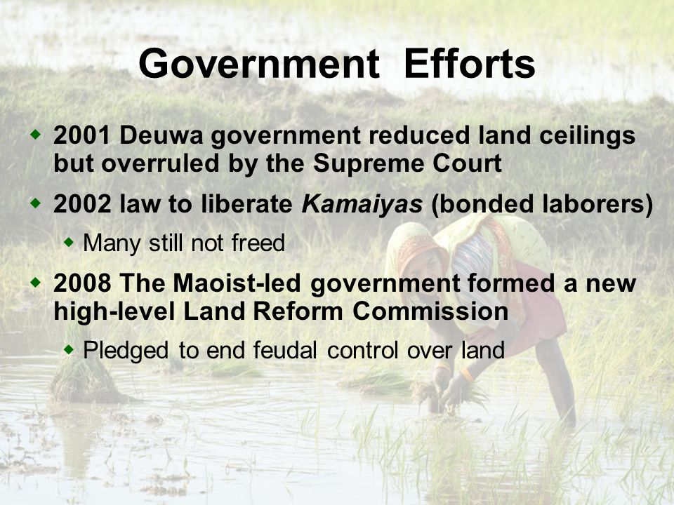 Way Forward First we must recognize and register tenants rights to dual ownership; only then can we end the dual ownership system and register secure tenancy rights Land zoning: Agricultural land must be for agriculture Joint ownership of land for women and men Land for surplus production not only subsistence
