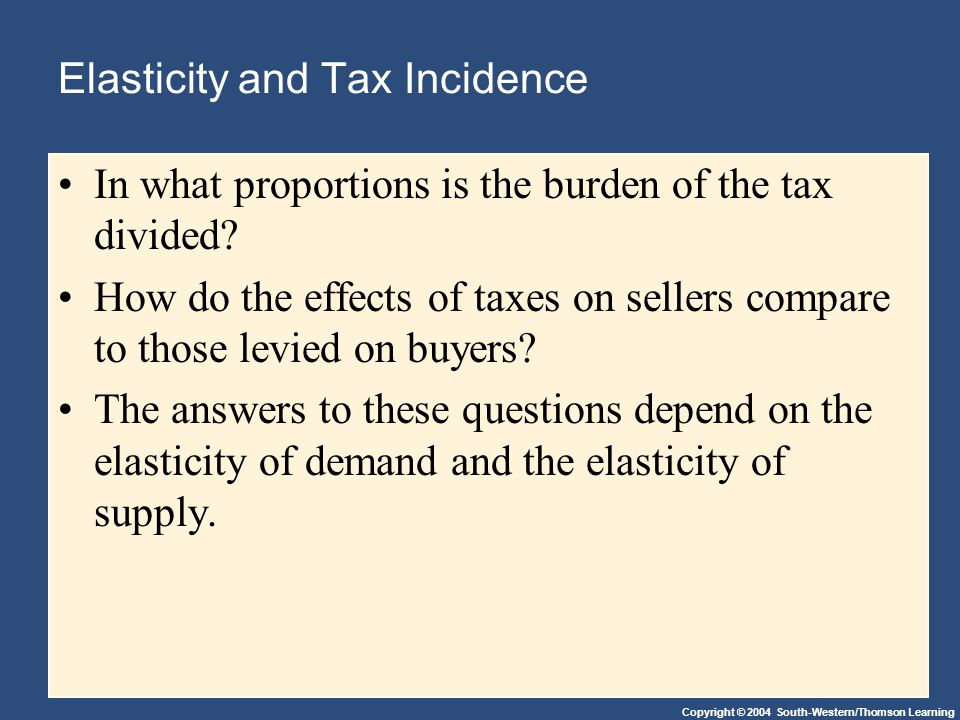 Copyright © 2004 South-Western/Thomson Learning Elasticity and Tax Incidence In what proportions is the burden of the tax divided.