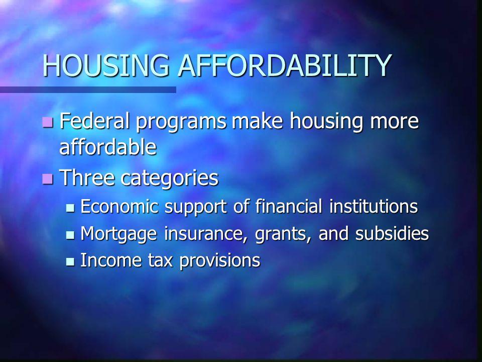 HOUSING AFFORDABILITY Federal programs make housing more affordable Federal programs make housing more affordable Three categories Three categories Ec