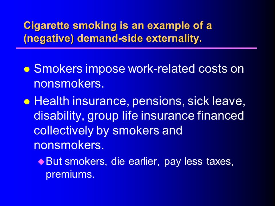 Cigarette smoking is an example of a (negative) demand-side externality.