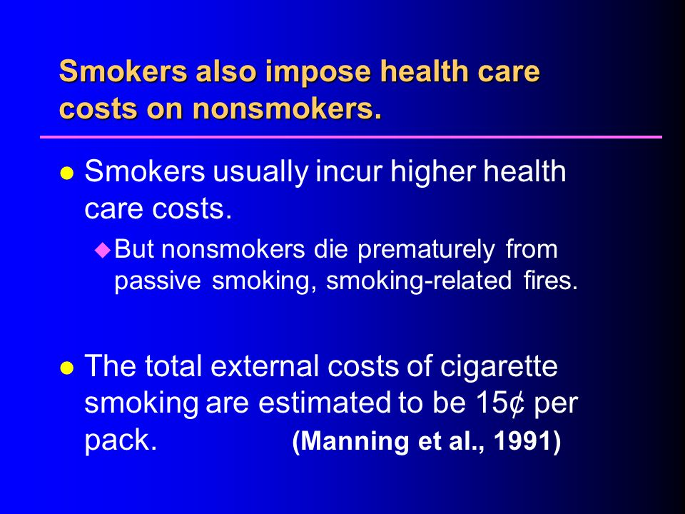 Smokers also impose health care costs on nonsmokers.