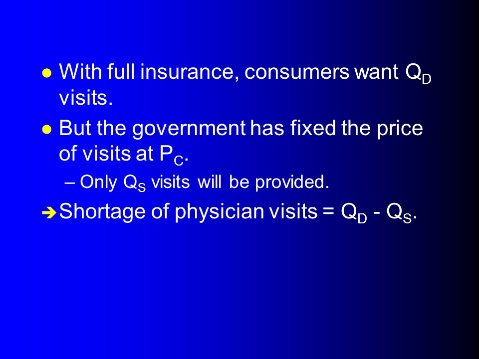 l With full insurance, consumers want Q D visits.