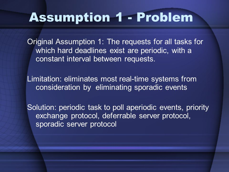 Assumption 1 - Problem Original Assumption 1: The requests for all tasks for which hard deadlines exist are periodic, with a constant interval between requests.