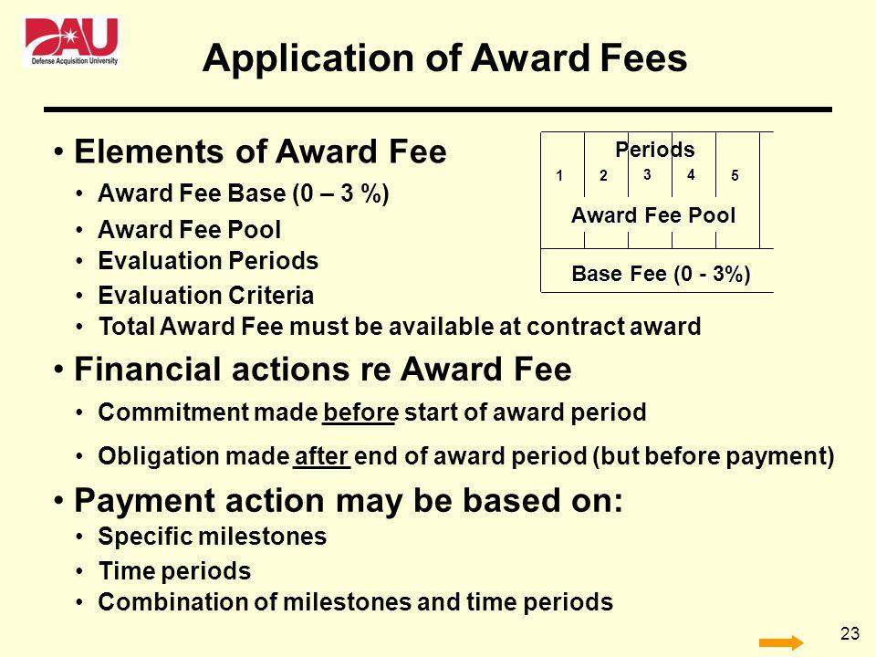 23 Base Fee (0 - 3%) Periods Award Fee Pool 12 34 5 Elements of Award Fee Award Fee Base (0 – 3 %) Award Fee Pool Evaluation Periods Total Award Fee m