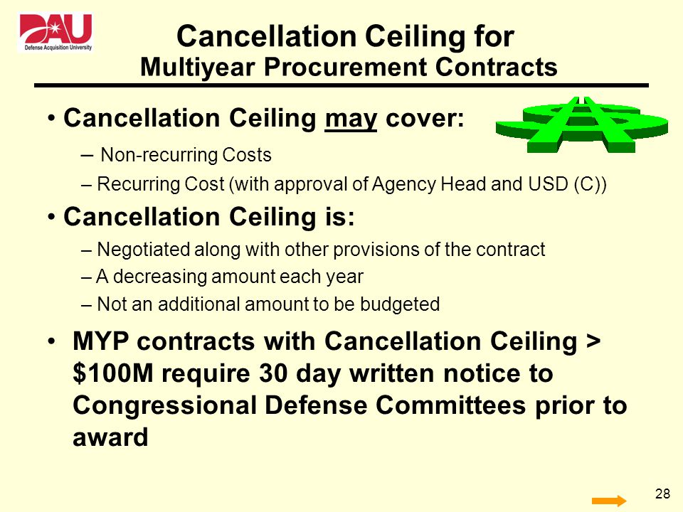 28 Cancellation Ceiling for Cancellation Ceiling may cover: – Non-recurring Costs – Recurring Cost (with approval of Agency Head and USD (C)) Cancella
