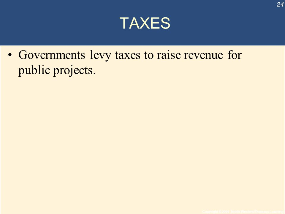 Copyright © 2004 South-Western/Thomson Learning 24 TAXES Governments levy taxes to raise revenue for public projects.