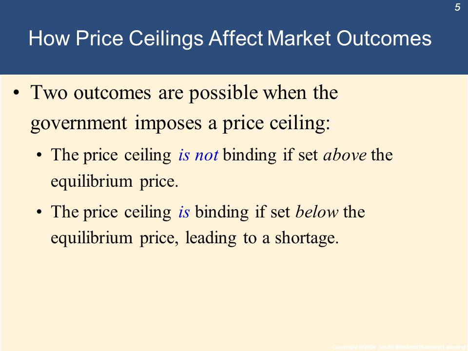 Copyright © 2004 South-Western/Thomson Learning 5 How Price Ceilings Affect Market Outcomes Two outcomes are possible when the government imposes a pr