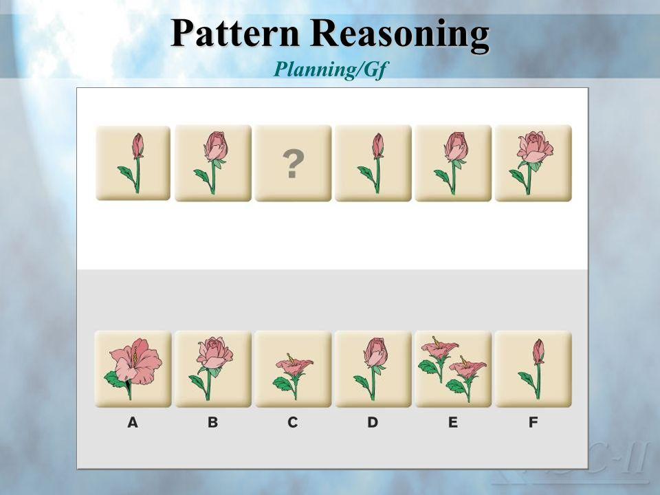 Pattern Reasoning Pattern Reasoning Planning/Gf