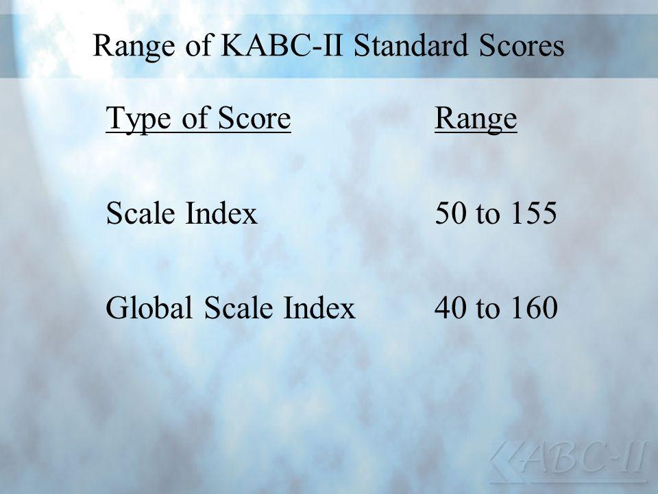 Range of KABC-II Standard Scores Type of ScoreRange Scale Index50 to 155 Global Scale Index40 to 160