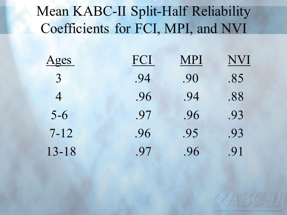 Mean KABC-II Split-Half Reliability Coefficients for FCI, MPI, and NVI AgesFCI MPI NVI 3.94.90.85 4.96.94.88 5-6.97.96.93 7-12.96.95.93 13-18.97.96.91