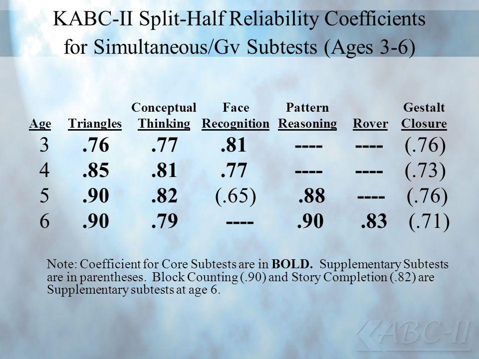 KABC-II Split-Half Reliability Coefficients for Simultaneous/Gv Subtests (Ages 3-6) ConceptualFacePatternGestalt AgeTrianglesThinkingRecognitionReason