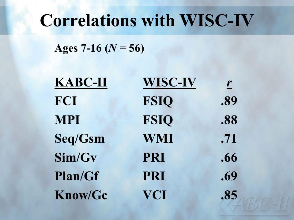Correlations with WISC-IV Ages 7-16 (N = 56) KABC-IIWISC-IVr FCIFSIQ.89 MPIFSIQ.88 Seq/GsmWMI.71 Sim/GvPRI.66 Plan/GfPRI.69 Know/GcVCI.85