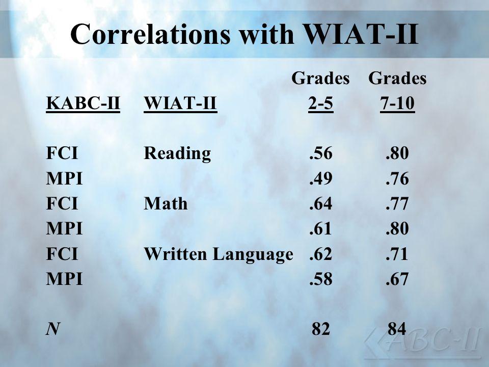 Correlations with WIAT-II Grades KABC-IIWIAT-II2-57-10 FCIReading.56.80 MPI.49.76 FCIMath.64.77 MPI.61.80 FCIWritten Language.62.71 MPI.58.67 N8284
