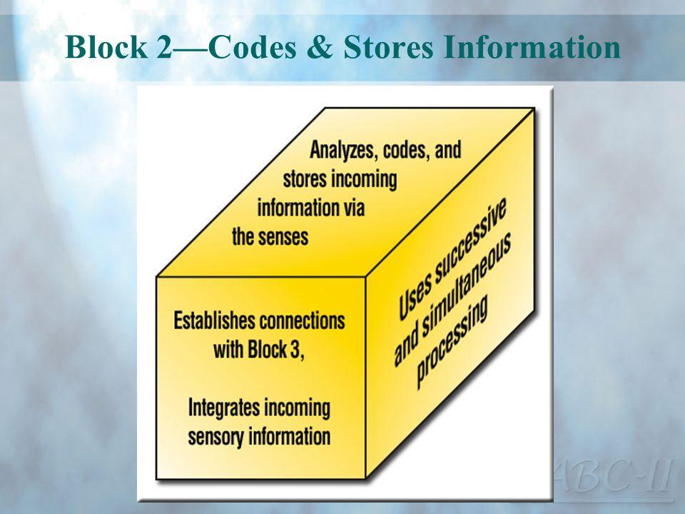 Block 2Codes & Stores Information
