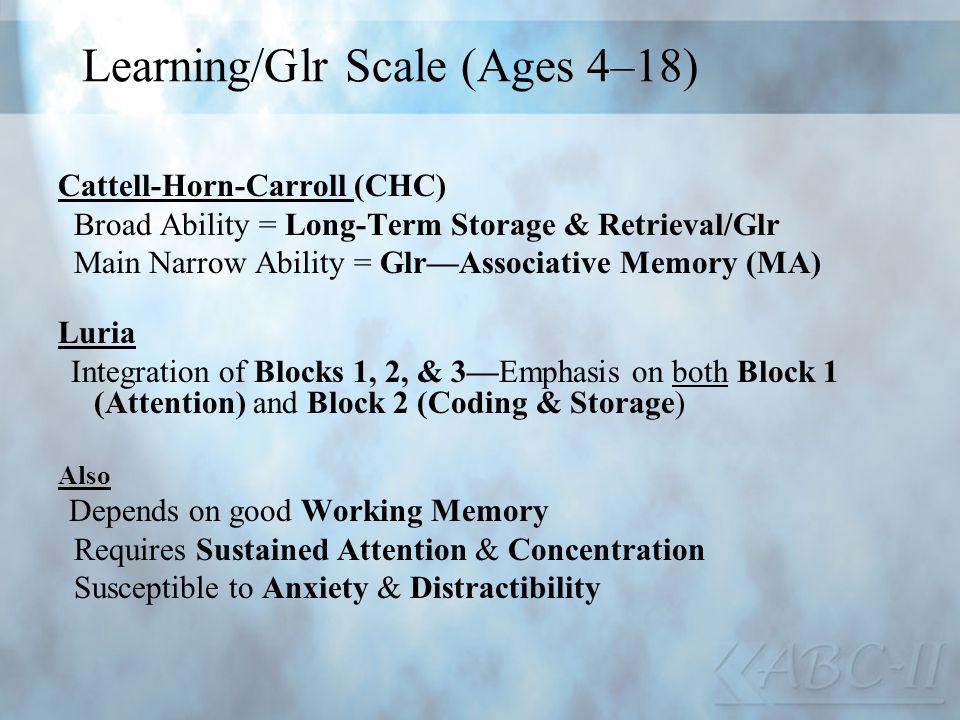 Learning/Glr Scale (Ages 4–18) Cattell-Horn-Carroll (CHC) Broad Ability = Long-Term Storage & Retrieval/Glr Main Narrow Ability = GlrAssociative Memor
