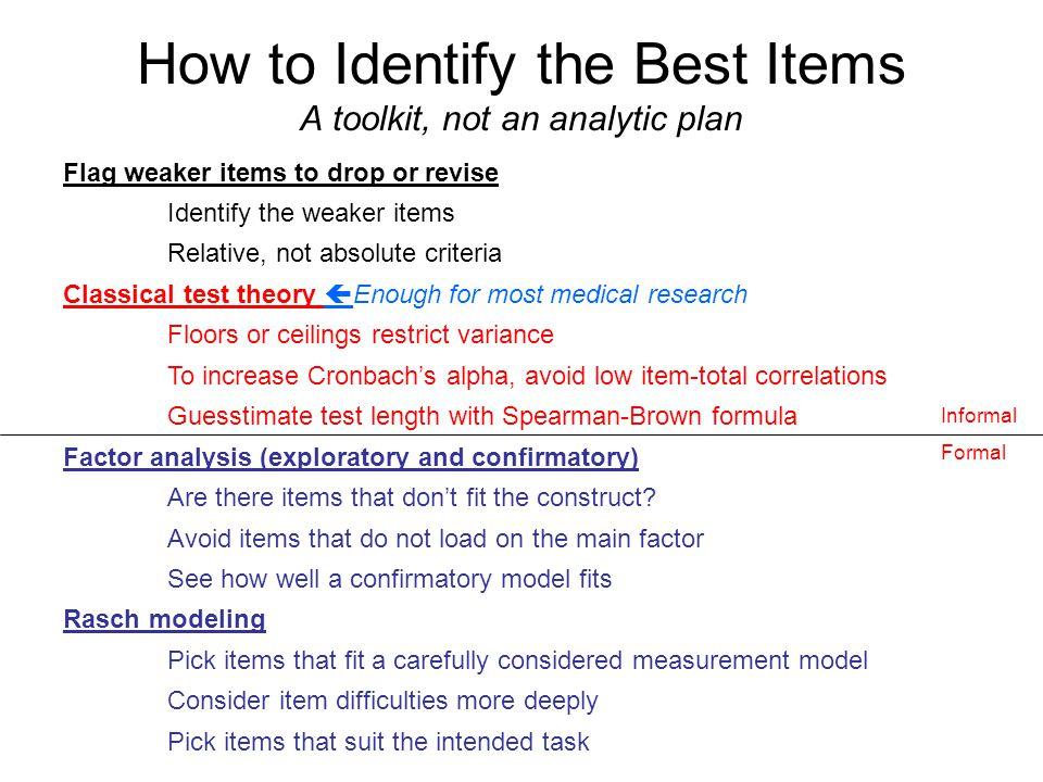 Rasch Model Items spread over a range of difficulties http://en.wikipedia.org/wiki/Rasch_model Easy items Hard items