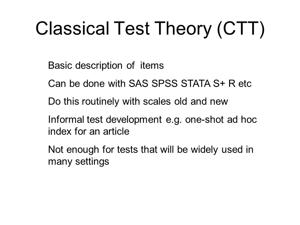 Factor Analysis (FA) Beginning formal test development Goal is to make sure the tests theory foundations agree with the test data We want to produce one or more single-factor tests Use EFA (exploratory factor analysis) and CFA (confirmatory factor analysis)