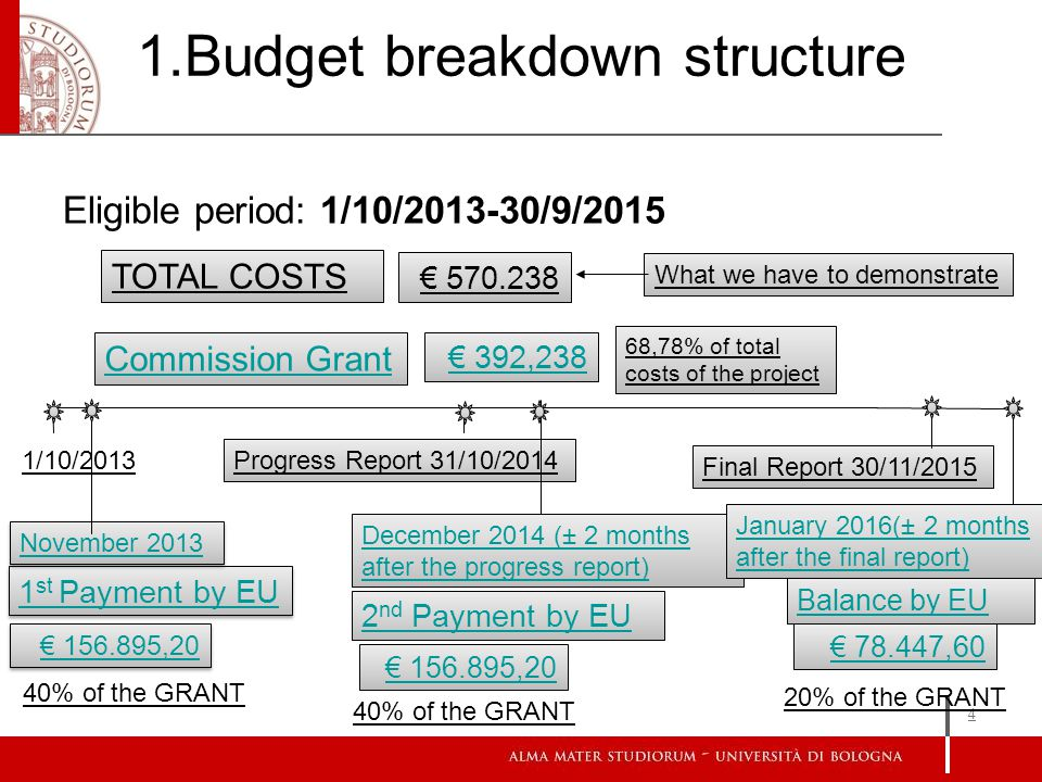 Eligible period: 1/10/2013-30/9/2015 4 1.Budget breakdown structure TOTAL COSTS 570.238 Commission Grant 392,238 68,78% of total costs of the project 1 st Payment by EU 2 nd Payment by EU Balance by EU November 2013 156.895,20 40% of the GRANT December 2014 (± 2 months after the progress report) 156.895,20 78.447,60 1/10/2013 Progress Report 31/10/2014 What we have to demonstrate Final Report 30/11/2015 January 2016(± 2 months after the final report) 40% of the GRANT 20% of the GRANT