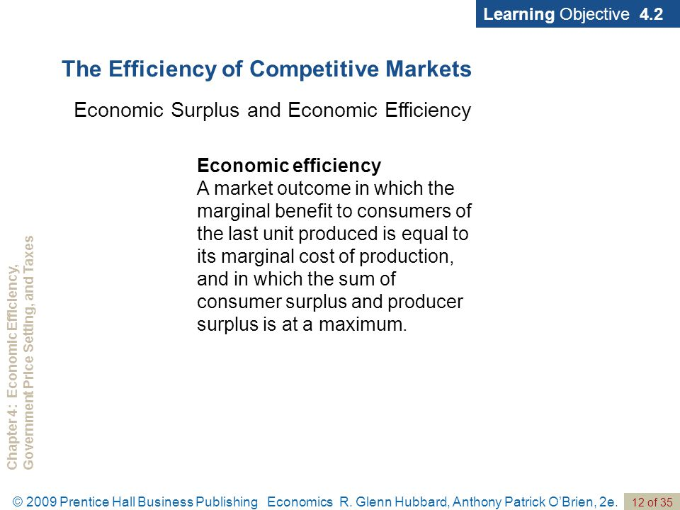 Chapter 4: Economic Efficiency,Government Price Setting, and Taxes 12 of 35 © 2009 Prentice Hall Business Publishing Economics R. Glenn Hubbard, Antho