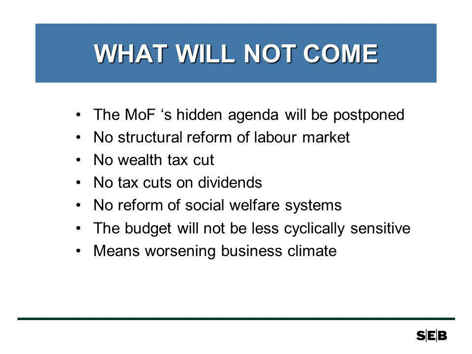 WHAT WILL NOT COME The MoF s hidden agenda will be postponed No structural reform of labour market No wealth tax cut No tax cuts on dividends No reform of social welfare systems The budget will not be less cyclically sensitive Means worsening business climate