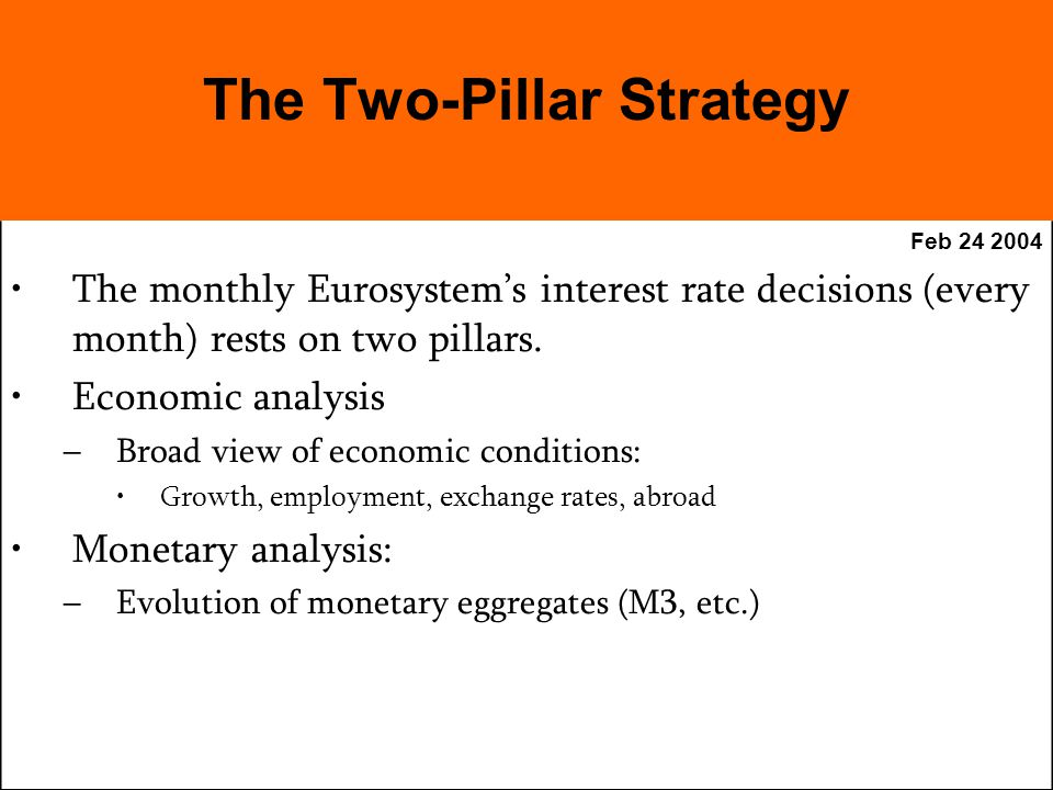 Feb The monthly Eurosystems interest rate decisions (every month) rests on two pillars.