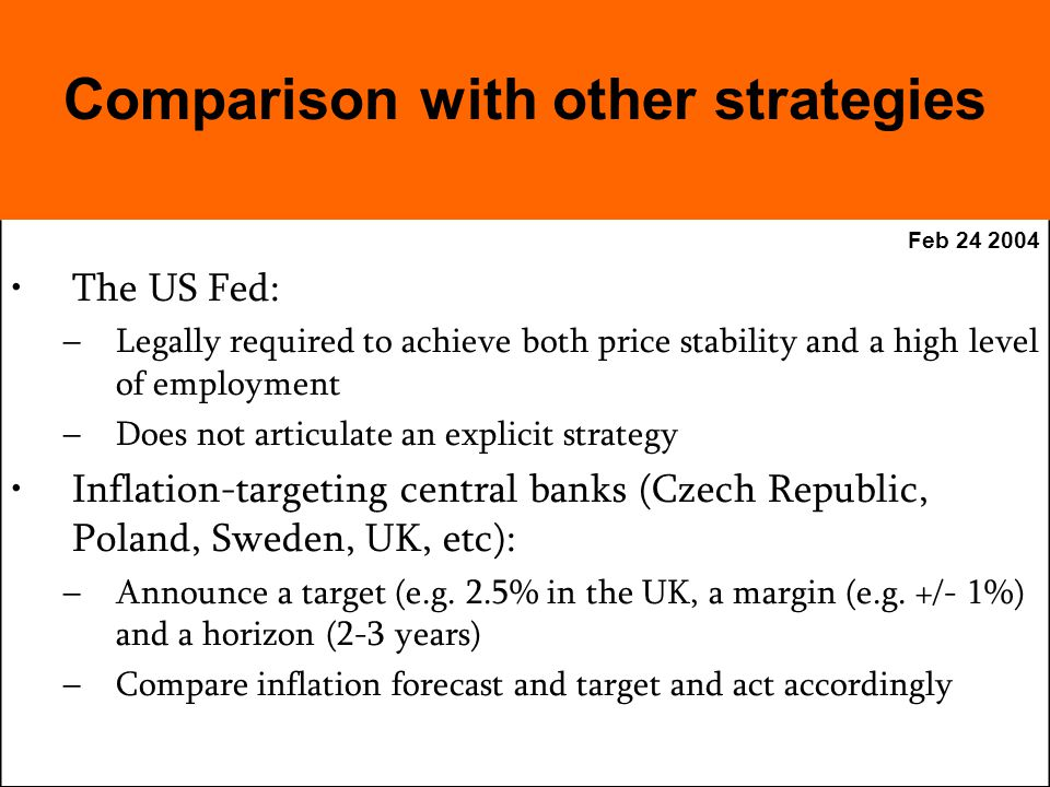 Feb The US Fed: –Legally required to achieve both price stability and a high level of employment –Does not articulate an explicit strategy Inflation-targeting central banks (Czech Republic, Poland, Sweden, UK, etc): –Announce a target (e.g.