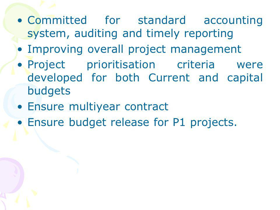 Committed for standard accounting system, auditing and timely reporting Improving overall project management Project prioritisation criteria were deve