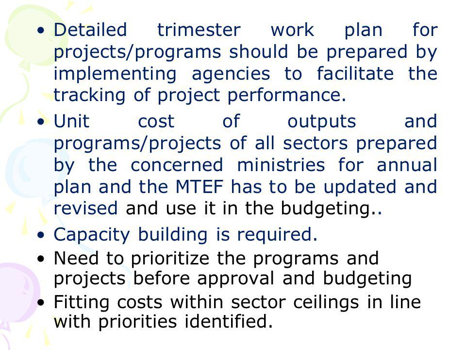 Detailed trimester work plan for projects/programs should be prepared by implementing agencies to facilitate the tracking of project performance. Unit