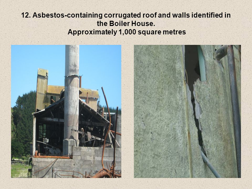 12. Asbestos-containing corrugated roof and walls identified in the Boiler House.