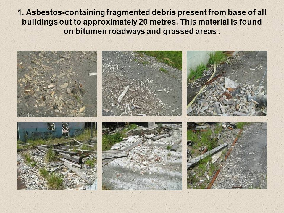 1. Asbestos-containing fragmented debris present from base of all buildings out to approximately 20 metres. This material is found on bitumen roadways